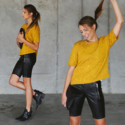 Madeline Becker - H&M Black Leather Shorts, H&M Mustard Sweater Tee - (UN)COMFORT ZONE