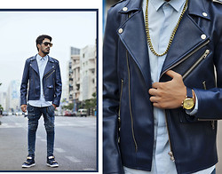 Mohcine Aoki - Guylook Must Urban Thick Leather Slim Biker Leather 50, Asos, Rick Owens, Milanoo, Triwa Gold Lansen Chrono, Persol - GOLD & BLUE
