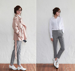Saea Eom - Apricot Color Trench Coat, White Shirts, Gray Color Slacks Pants, White Oxford Shoes - Mannish Look for Girl