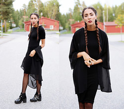Malin E. - Topshop Dress, H&M Kimono, Topshop Shoes - Black on black on black