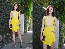 Q2 HAN - Sheinside Yellow Jumpsuit, Topshop Lace Up Heels, Louis Quatorze Clutch - California Journal
