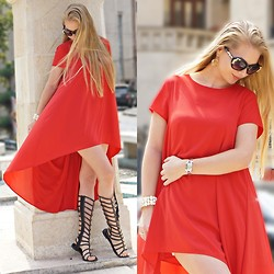 Federova Kik - Sheinside Dress, Lovelyshoes Sandals, Sheinside Sunglasses, Oasap Bracelet - Lady in Red