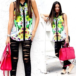 Macarena Ferreira - Prabal Gurung Top, Blank Nyc Jeans, Saint Laurent Purse, Chanel Shoes - Blacks & Brights.