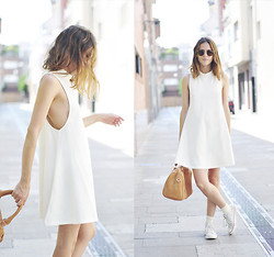 Saray Dansvogue - Sheinside Dress, Converse Sneakers, Blanco Bag, Ray Ban Sunglasses - White Dress