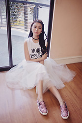 Tricia Gosingtian - Gretta Tulle Skirt In Ivory, Hotmessph Top, Slip Me On Loafers In Pink - 082714