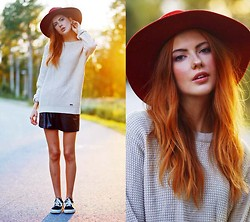 Ebba Zingmark - Brixtol Sweater, Junkyard Xx Xy Skirt, Vans Sneakers, Monki Hat - IT'S CONTAGIOUS