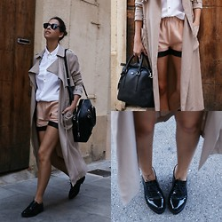 Milagros Plaza - Twist & Tango Oversize Trench Coat, Zara White Shirt, Craie Leather Shorts, Tous Black Leather Bag, Area Black Oxfords - Boyish look