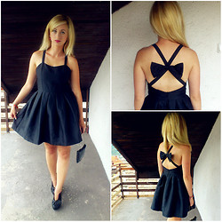 Brina SweetStyle - Romwe Bowknot Crossed Strap Black Dress - Little Black Dress