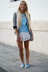 Ilda Hadzic - Choies Shirt, Chic Wish Shorts - Sky