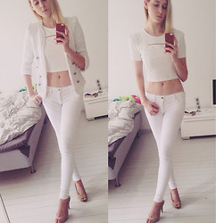 Rinka Essel - Wdny Jacket, Forever 21 Shirt, Mango Jeans, Nine West High Heels - White on white