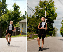 Lauren J - Leather Shorts, Windsor Smith Chelsea Boots, Second Hand Vest - ...