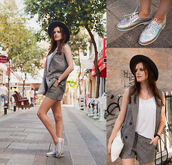 Viktoriya Sener - Chic Wish Grey Twin Set, Chic Wish Brogues, H&M Hat, Asos Necklace, Mango Top, Zara Clutch - BILLIE JEAN