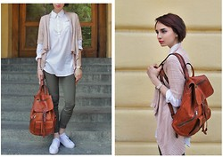 Angelina Smart - Colin's Sneakers, Swatch Watches, Only Sweater, H&M Shirt, Handmade Italian Leather Backpack - Back to school!