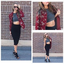 Meryl M - Zara Wine Red Bomber Jacket, H&M Grey Crop Top, H&M Black Midi Skirt, Nelly Black Heels - FAKE TATTOO
