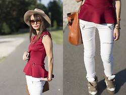 Silvia Matei - H&M Hat, H&M Cat Eye Shaes, Bsb Fashion Peplum Top, Zara Biker Jeans, Isabel Marant Wedge Sneakers - Autumn, I'm so waiting! | SomethingAboutHer