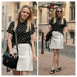 Gabriella B - New Look Daisy Print Sheer Monochrome Shirt, Primark White Round Sunglasses, Topshop White A Line Biker Skirt, River Island Black Patent Leather Sliders, Stradivarius Black Boxy Smart Bag - DAYLIGHT - NIGHT, INVERTED - CHANGES MANY THOUGHTS