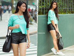 Charlene Ajose - Mels Collection Chain Necklace, Little Nook Mint Cropped Top, Ripples By Jenny Leather Highwaist Shorts, Promod Tote Bag - Minty Fresh