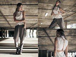 Eugénie Grey - Element 7 Juno Face Chain, Dailylook Cutout Button Up Shirt, Dailylook Double Button Trouser, Zana Bayne Classic Tan Harness - Elemental