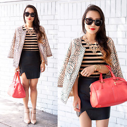 Toshiko S. - Zerouv Sunglasses, Zara Embroidered Jacket, Choies Asymmetrical Leather Skirt, Handbag Heaven Coral Satchel Bag, Sole Society Wynn Leather Heels - Today's Me