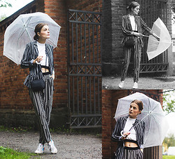 Ingrid Wenell - H&M Black And White Suit, New Balance Sneakers, 1440 Cropped Top - Stockholm Fashionweek Day 1