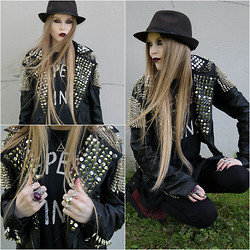 Mona&Linda Pedersen - Diy Jacket, Unif T Shirt, Saint Laurent Ring, Underground Creepers - Repeat sins