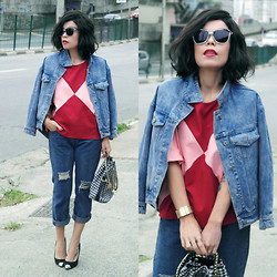 Priscila Diniz - Color Block Top, Sunglasses, Boyfriend Jeans, Denim Jacket, Custom Made Long Bob Wig, Bag - My comfy pair of jeans...