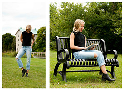 Lauren J - Windsor Smith Chelsea Boots, American Eagle Outfitters Ripped Boys Jeans, Thrifted Knit Tank - The Blue Castle