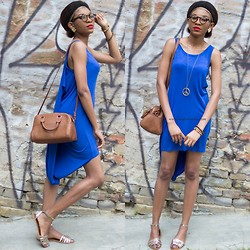 Onyinye Ibeagi - Claires Long Necklace, New Look Gold Sandals, Claires Braided Headband - Asymmetric Blue dress