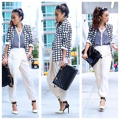 Sasa Zoe - Checker Blazer, Pants, Necklace, Bag, Heels - SHALL WE SASA: MONOCHROME CHECKER