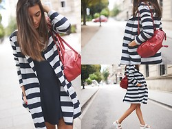 Carla Estévez - Asos Coat, Zara Dress - Stripes obsession