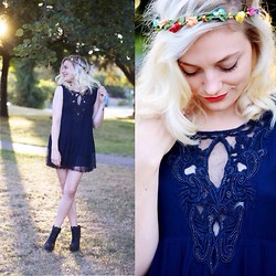 Destiny Millns - Zara Beaded Dress, Flower Crown - Beads.
