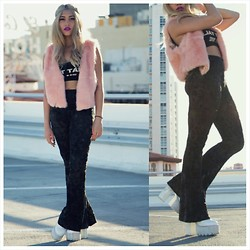 Asia Thornton - Thrifted Furry Pink Vest, 24hours Don't Talk To Me Croptop, Lip Service Paisley Burnout Bell Bottoms, Jeffrey Campbell Skully Platforms - Don't Talk to Skully