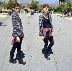 Bethany R. - H&M B/W Blazer, Target Plaid Button Up, Dr. Martens Eloise - Land Of The Lost