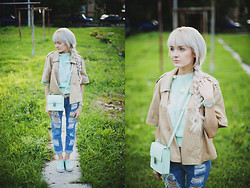 Natalie Elmo Feo - H&M Outerwear, H&M Bag, Romwe Jeans, Oggi Sweater - Mint and love