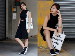Dahye J - Acne Studios Tote, Simons Culotte Shorts, Topshop White Sole Slip Ons - ACNE TOTE + CULOTTES