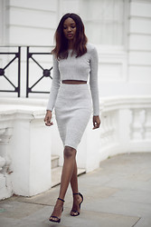 Natasha N - Crop Top, Pencil Skirt, Missguided Heels - Grey Matters