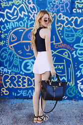 Kristin Ondocsin - French Connection Uk White  High Waisted, Lilac & Lilies Crop Top, French Connection Uk Sandals, Danielle Nicole - Wynwood Walls