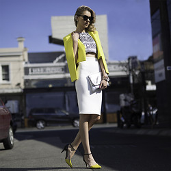 Dasha Gold - Florsheim Shoes, Nicola Finetti Top, French Connection Uk Au Clutch, Sheike Jacket, Blackbygeng Skirt - Good Morning Sunshine