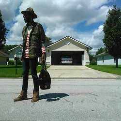 Adam Forster - Liz & Co. (Thrifted) Striped Shirt, Wal Mart Knapsack, Vivienne Westwood Buffalo Hat, Cotton On Indigo Skinnies - STRIPES