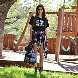 Shelly Stuckman - Breakups To Makeup Crop, Garage Plaid, T Shirt And Jeans Backpack, Steve Madden Schoolz, Immediate Fashion Company Tie Dye - You Can't Make Up With Us