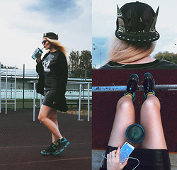 Ekaterina Gladysheva - Starbucks Cup For Cold Water, Forever 21 Top, H&M Black Cardigan, Vintage Leather Skirt, Jordan J's, Romwe Crown Cap, River Island Glasses - [black for life]