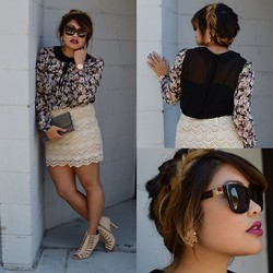 Tiffany Lam - Forever 21 Floral Top W/Peter Pan Collar, Forever 21 Crochet Skirt, Forever 21 Beige Cut Out Heels, Forever 21 Silver Beaded Clutch, Dolce & Gabbana Mosaico - Patience Gets Us Nowhere Fast