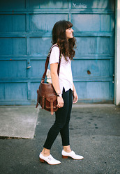 Tonya S. - Bdg Leather Tab Strap Bag, Splendid White Tee, Madewell Jeans - Keeping it Casual