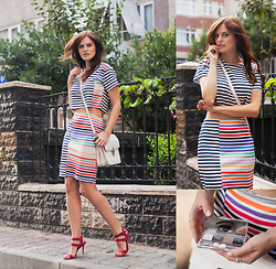 Viktoriya Sener - Sheinside Twin Set, Forever New Bag, Zara Sandals, Clinique Eyeshadows - STRIPED DREAMS / WIN TRIP TO PARIS!