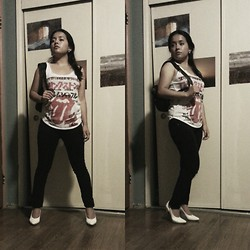 Tania - Bravado Rolling Stones T Shirt, Mudd Black Skinny Jeans, Stephane Kelian White Pumps - Off to school
