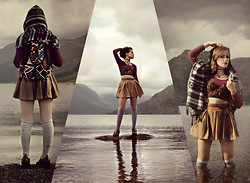 Emily Rose Cornthwaite - Topshop Skirt, Topshop Belt, Topshop Bralet, Topshop Crop Top, Topshop Knee High Socks, Topshop Brogues, Topshop Backpack, Topshop Poncho - Into The Wilderness Look Two