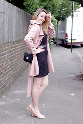 Jaclyn - Dahlia Pink Trench Coat, River Island Black Mesh Dress, Zara Perspex Heels, Vintage Quilted Bag - Trench