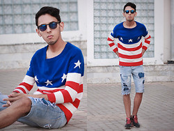 Ahmed Imoudrog - Giantvintage Glasses, Tomtop Fashion Women Men Knit Sweater American Flag Star Stripe Pullover Jumper Loose Top Lovers - TomTop