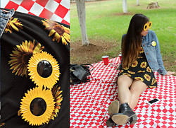 Karen Cardiel - Sunflower Sunglasses, Sunflower Dress, Sexy Jeans Denim Jacket, Picnic - Picnic day with my love
