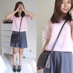 Linh Vu - Culottes, Jelly Sandals, Nine West Cross Body Bag, Momoco Pink Chiffon Top - Pink Chiffon on top